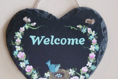 Welcome slate sign