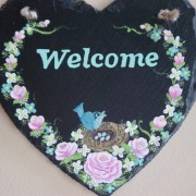 Welcome slate sign close