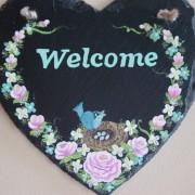 Welcome slate sign close